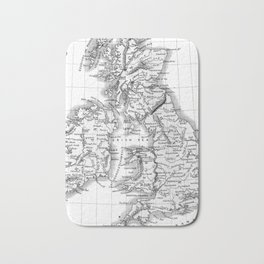 Vintage Map of The British Isles (1864) BW Bath Mat