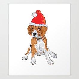 Cute Beagle Christmas Shirt Art Print