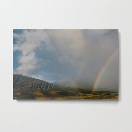 Double Rainbow on the Side Less Traveled Metal Print