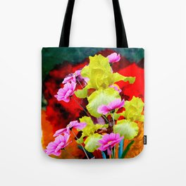 MODERN ABSTRACT YELLOW IRIS & PINK FLOWERS FLORAL Tote Bag