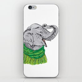 Merry Christmas New Year's card design Elephant head with a raised trunk in a knitted sweater iPhone Skin