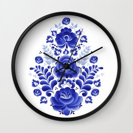 Blue flowers in the form of an egg Wall Clock