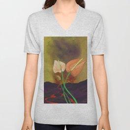 Last Flowers Before the Volcano Unisex V-Neck