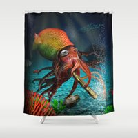 rasta Shower Curtains featuring Rasta Squid by Al Digit