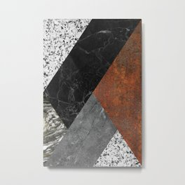Marble, Granite, Rusted Iron Abstract Metal Print