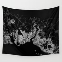 istanbul Wall Tapestries featuring Istanbul  by Line Line Lines