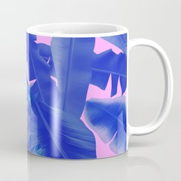 tropical banana leaves pattern,pink,blue Coffee Mug