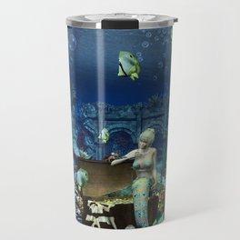 Wonderful mermaid with cute crab Travel Mug