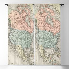 Amerique du Nord from Atlas Universel by Artheme Fayard, pseudonyme F de la Brugere (1836-1895), published in 1878, vintage cartographic map of the United States of America, Canada and Mexico Blackout Curtain