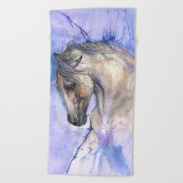 Horse on purple background Beach Towel