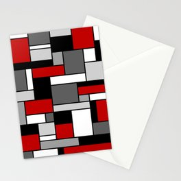 Mid Century Modern Color Blocks in Red, Gray, Black and White Stationery Cards
