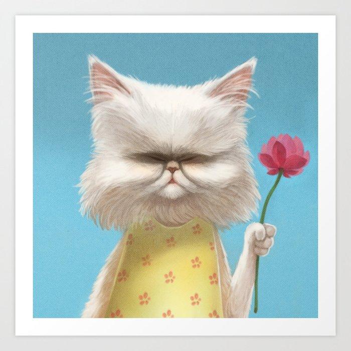 A cat holding a flower Art Print