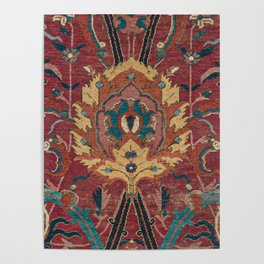 Flowery Arabic Rug II // 17th Century Colorful Plum Red Light Teal Sapphire Navy Blue Ornate Pattern Poster
