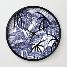 Purple Tropical Leafs Drawing Pattern Wall Clock