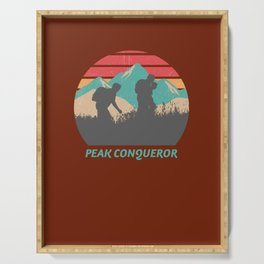 Peak Conqueror Hiking Hiker Hike Mountain Nature Serving Tray