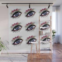 Blue eye & flowers Wall Mural
