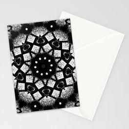 Black White Mosaic Kaleidoscope Mandala Stationery Cards