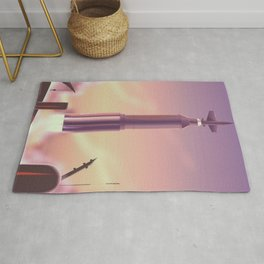 vintage Soviet rocket launch Rug