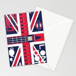 Vintage Union Jack UK Flag with London Decoration Stationery Cards