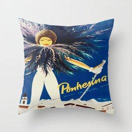 Vintage Travel Pontresina Switzerland Throw Pillow