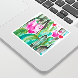 Pink Happy Plants Sticker