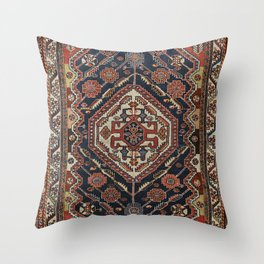 Persian Qashqai Old Century Authentic Colorful Aztec Royal Blue Red Vintage Patterns Throw Pillow