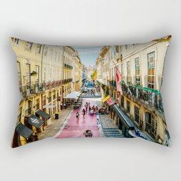 Beautiful Pink Street Downtown Lisbon City, Wall Art Print, Modern Architecture Art, Poster Decor Rectangular Pillow