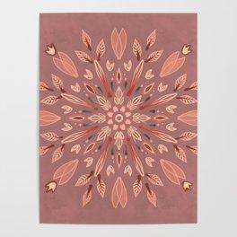 Peachy Fall Mandala Poster