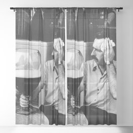 Happy Hour - Men drinking from huge beer mugs after work humorous black and white photograph / art photography Sheer Curtain