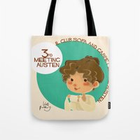 jane austen Tote Bags featuring Jane Austen 3RD meeting Austen by Vale Bathory