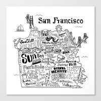 san francisco map Canvas Prints featuring San Francisco Map Illustration by Claire Lordon
