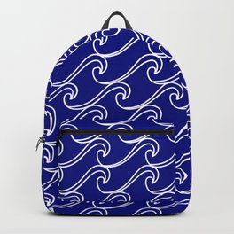 Rough Sea Pattern - white on blue Backpack