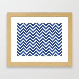 blue, white zig zag pattern design Framed Art Print