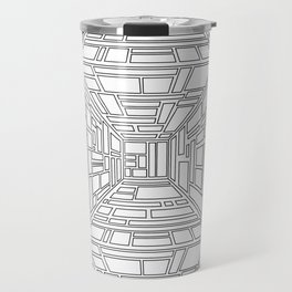 Abstract seamless op art pattern. Monochrome graphic black and white ornament. Striped optical illus Travel Mug