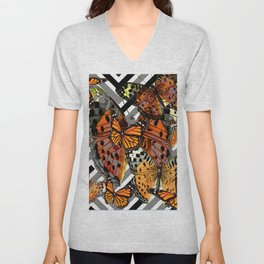 MODERN BUTTERFLY ORANGE-YELLOW  ART Unisex V-Neck