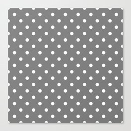 Grey & White Polka Dots Canvas Print