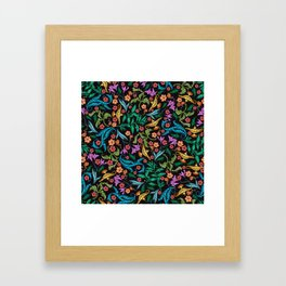 Asian-Inspired Floral Pattern With Gold Magical Lanterns Framed Art Print