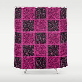 Raspberry patchwork Roses. Shower Curtain