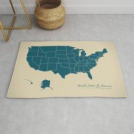 Modern Map - United States of America USA Rug
