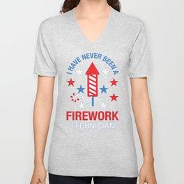 FIREWORK TECHNICIAN RED WHITE AND BLUE T-SHIRT Unisex V-Neck
