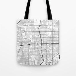 Wichita Map, USA - Black and White Tote Bag