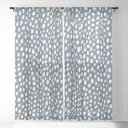Handmade polka dot brush spots (white and slate gray/blue) Sheer Curtain