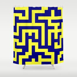 Electric Yellow and Navy Blue Labyrinth Shower Curtain