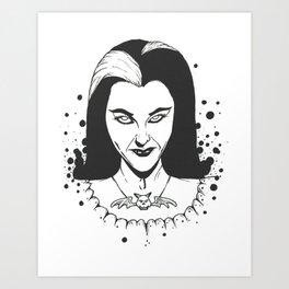 POP LILY MUNSTER BW Art Print