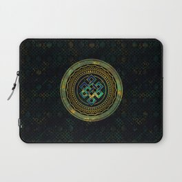 Marble and Abalone Endless Knot  in Mandala Decorative Shape Laptop Sleeve