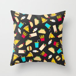 Fast Food Burgers Fries Pizza Tacos Pattern Throw Pillow