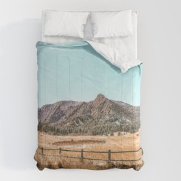 Flations Boulder // Colorado Mountain Landscape Fresh Snow Autumn Fence Teal Sky Comforters