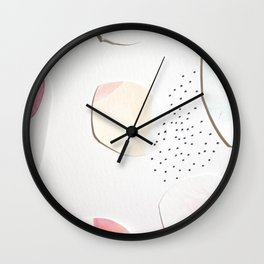 Minimalist Watercolor Collage Detail I Wall Clock