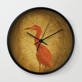 Red Heron Wall Clock