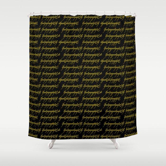 Elvish Gold Black Shower Curtain By Thinlinetextiles